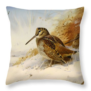 Winter Woodcock Throw Pillow