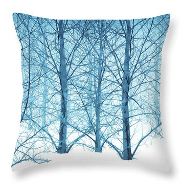 Winter Woodland In Blue Throw Pillow