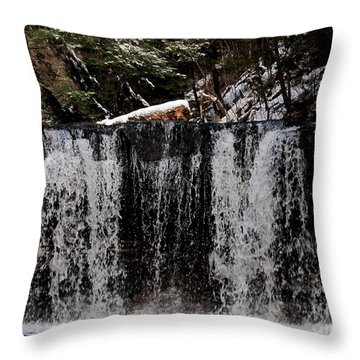 Winter Woodland Waterfall Throw Pillow