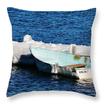 Winter Yacht Throw Pillow