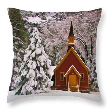 Winter Yosemite Chapel Throw Pillow by Heidi Smith