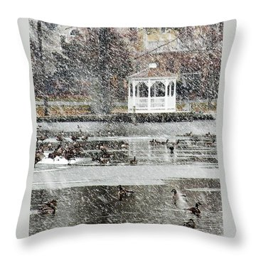 Wintering Geese On Silver Lake Throw Pillow
