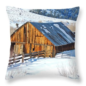 Wintering Range Barn Throw Pillow