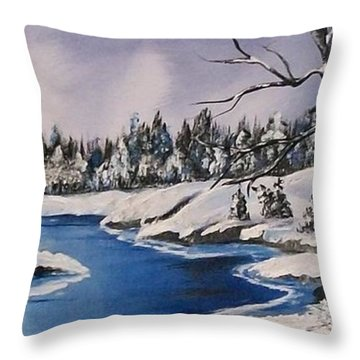 Throw Pillow featuring the painting Winter's Blanket by Sharon Duguay