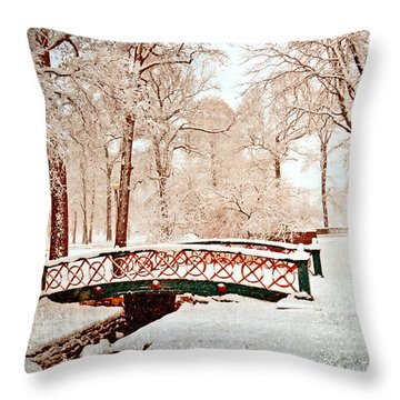 Winter's Bridge Throw Pillow by Marty Koch