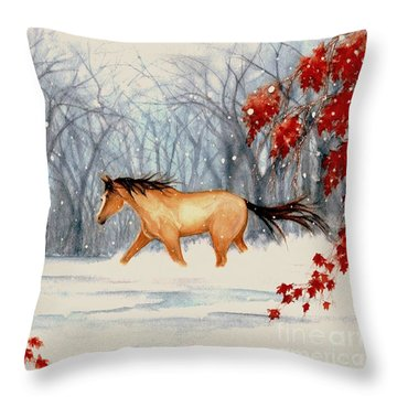 Winter's Eve Throw Pillow by Janine Riley