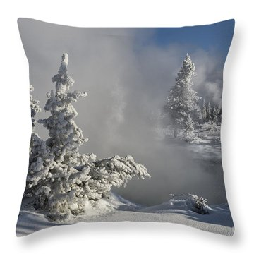 Winter's Glory - Yellowstone National Park Throw Pillow by Sandra Bronstein