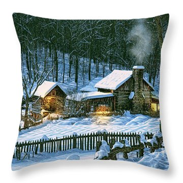 Throw Pillow featuring the digital art Winter's Haven by Mary Almond