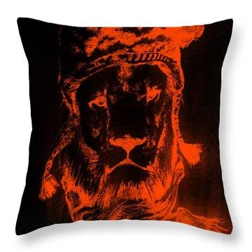 Winter's Lion Black Orange Throw Pillow