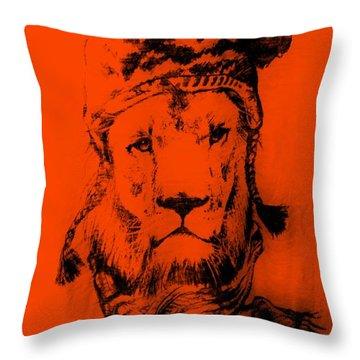 Winter's Lion Orange Throw Pillow