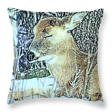 Winter's Nap Throw Pillow by Torie Tiffany