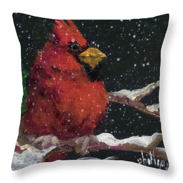Throw Pillow featuring the painting Winter's Red by Jim Phillips