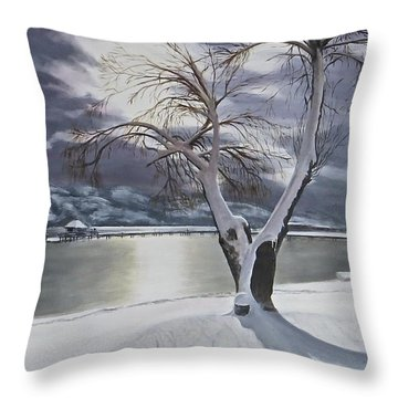 Winter's Whisper Throw Pillow