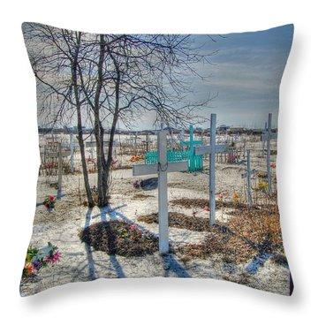 Wintery Grave Throw Pillow