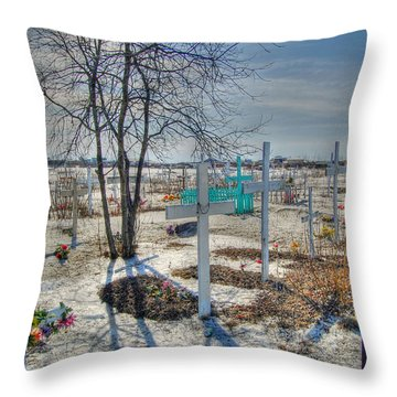Wintery Grave Throw Pillow