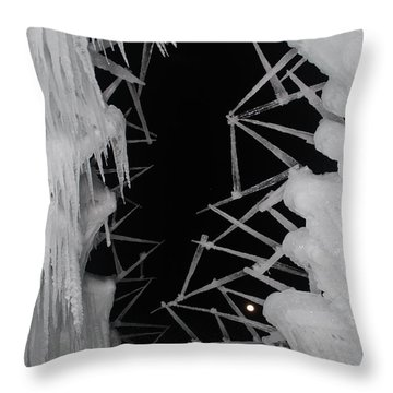 Wintery Ice Farming  Throw Pillow