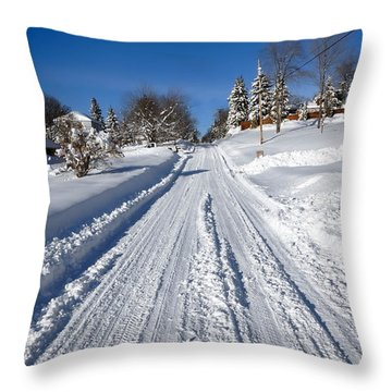 Wintery Road Throw Pillow by Amy Cicconi