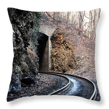 Wintery Tunnel Throw Pillow by Tammy Schneider