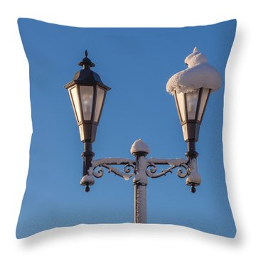 Wintry Lamp Post Throw Pillow