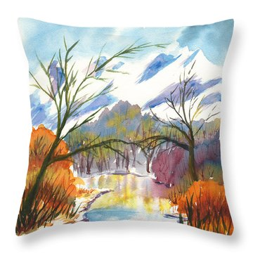 Wintry Reflections Throw Pillow