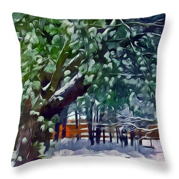Wintry  Snowy Trees Throw Pillow by Lanjee Chee