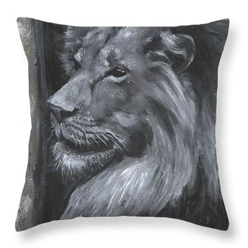 Throw Pillow featuring the painting Wip Lion by Alga Washington