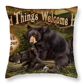 Wipe Your Paws Throw Pillow by JQ Licensing