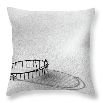 Wire Basket In Snow Throw Pillow