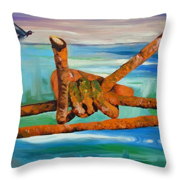 Throw Pillow featuring the painting Wire by Daniel Janda