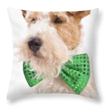 Wire Fox Terrier With Bowtie Throw Pillow by Verena Matthew