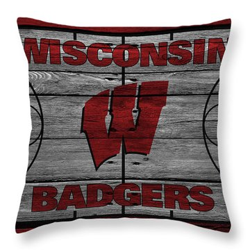 Wisconsin Badger Throw Pillow by Joe Hamilton