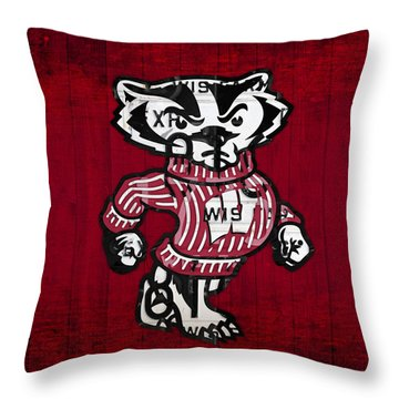 Wisconsin Badgers College Sports Team Retro Vintage Recycled License Plate Art Throw Pillow