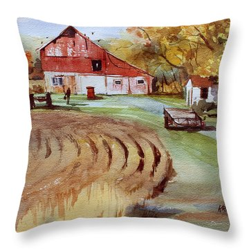 Wisconsin Barn Throw Pillow