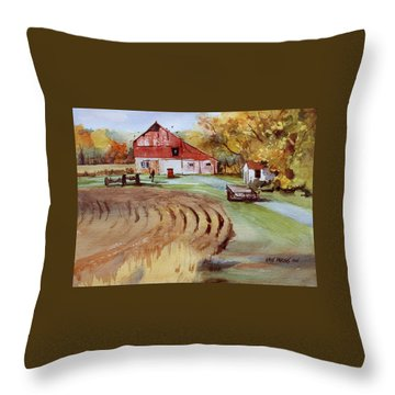 Wisconsin Barn Throw Pillow by Kris Parins