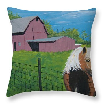 Wisconsin Barn Throw Pillow by Norm Starks