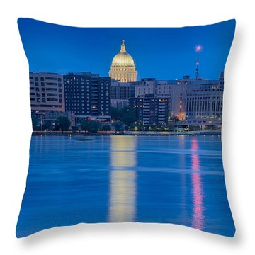 Throw Pillow featuring the photograph Wisconsin Capitol Reflection by Sebastian Musial