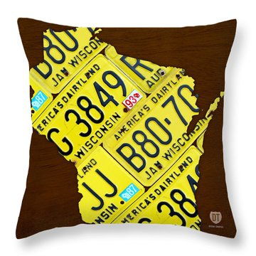 Wisconsin License Plate Map By Design Turnpike Throw Pillow by Design Turnpike