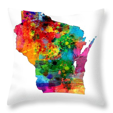 Wisconsin Map Throw Pillow