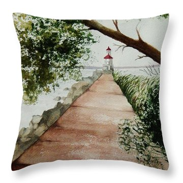 Wisconsin Point Lighthouse Throw Pillow