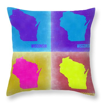 Wisconsin Pop Art Map 3 Throw Pillow by Naxart Studio