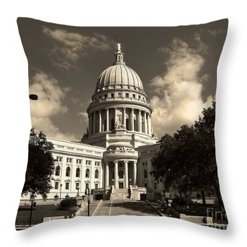 Throw Pillow featuring the photograph Wisconsin State Capital Building by Clare VanderVeen