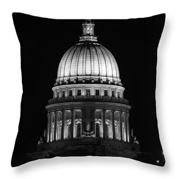 Wisconsin State Capitol Building At Night Black And White Throw Pillow