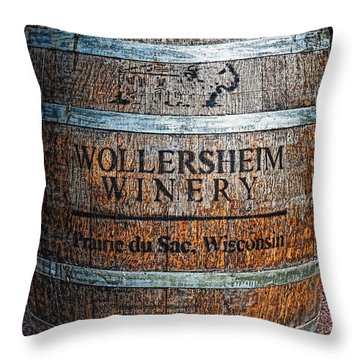 Wisconsin Wine Barrel Throw Pillow
