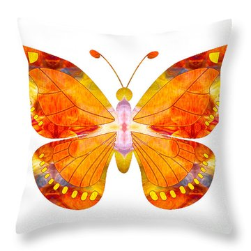 Throw Pillow featuring the digital art Wisdom And Flight Abstract Butterfly Art By Omaste Witkowski by Omaste Witkowski
