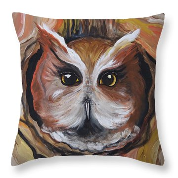 Wise Ole Owl Throw Pillow by Leslie Manley