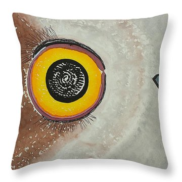 Wise Owl Original Painting Throw Pillow