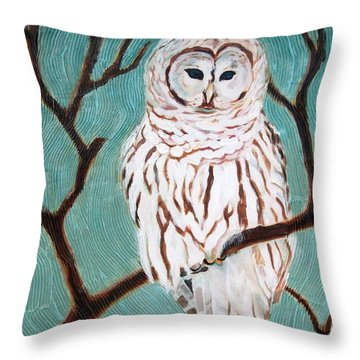 Throw Pillow featuring the painting Wise She Is by Janet McDonald
