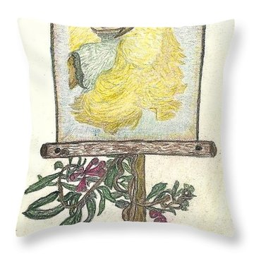 Throw Pillow featuring the drawing Wish And Tell by Kim Pate