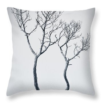 Wishbone Tree Throw Pillow by Carolyn Marshall