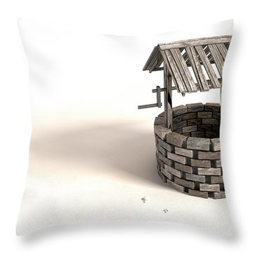 Wishing Well With Wooden Bucket And Rope Throw Pillow by Allan Swart